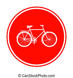 red bicycle sign