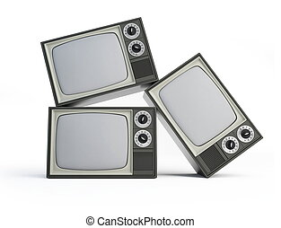 old black and white TV isolated on a white background