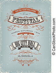 Grunge Festival Invitation Poster - Illustration of a...