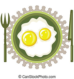 Scrambled eggs on the plate