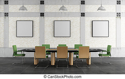 meeting room in a loft - Meeting room in a loft with brick...