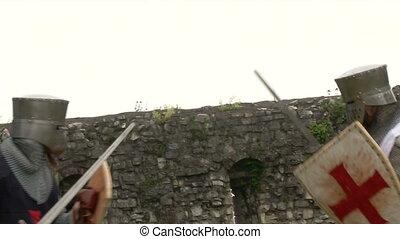 medieval crusader fighting