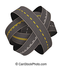 Road Ball - Ball of road asphalt over white background