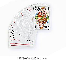 the queen of spades on card pack over white