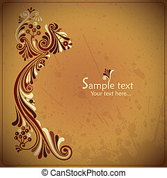 Vintage card with floral elements - vector ilustration