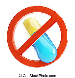 ban on the pill on a white background