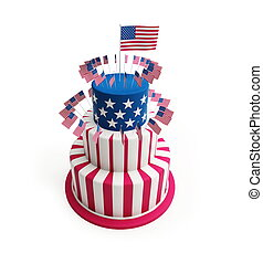 Cake for July 4th on a white background