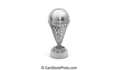 Silver football trophy rotates on white background