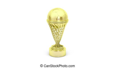 Golden football trophy rotates on white background