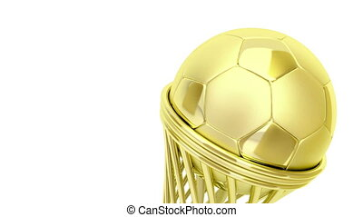 Golden football trophy
