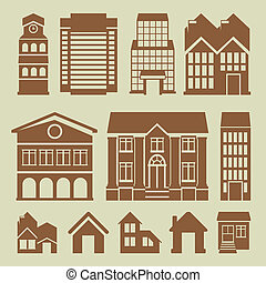 Vector set of houses icons - buildings and architecture