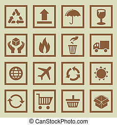 Vector set of package signs and symbols - delivery and...