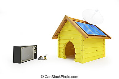 dog house with solar panels and antenna on a white...