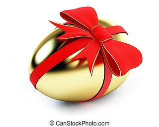 egg gold with bow on a white background
