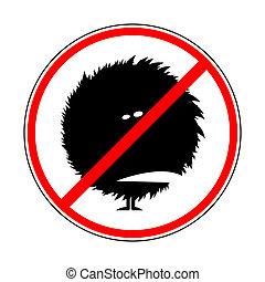 sign prohibiting shaggy monsters