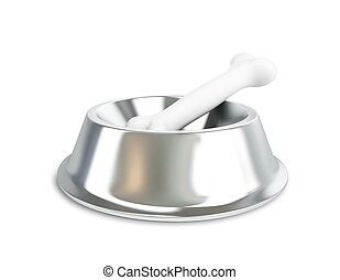 metall dog dish and bone on a white background