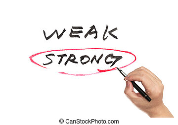 Weak or strong - Weak and strong conceptional words written...