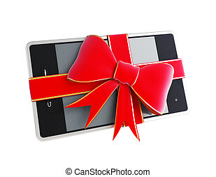 gift touchscreen phone pad on a white background
