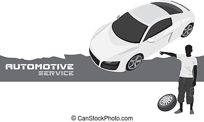 Automotive service. Banner for design. Vector illustration