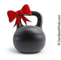 Dumbbell Weights gift on white background
