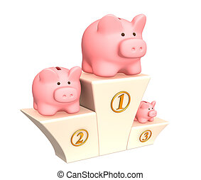 3d piggy banks on a pedestal - Three piggy banks on a...