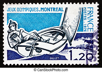 Postage stamp France 1976 shows Sailing, 21st Olympic Games...