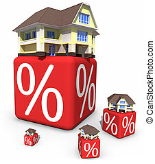 Discount - 3D houses and red cubes with percent symbols