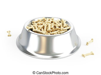 dog food in a metal bowl on a white background