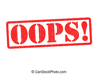 OOPS! Rubber Stamp over a white background.