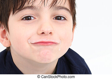 Milk Mustache - Adorable 5 year old boy with soy milk...