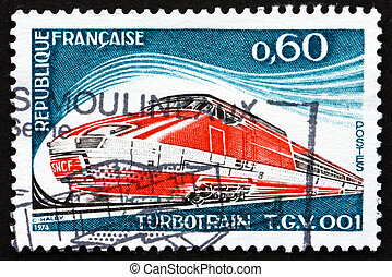 Postage stamp France 1974 shows Turbotrain T.G.V. 001 -...