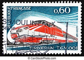 Postage stamp France 1974 shows Turbotrain T.G.V. 001 -...