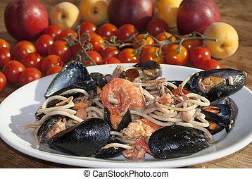 pasta allo scoglio - a traditional and typical Italian dish:...