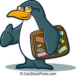 Penguin Character Traveling - Illustration of a cute penguin...