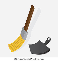 Broom Dustpan  - Small broom sweeping with dustpan