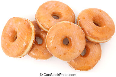 Glazed Doughnuts - pile of glazed donuts over white (as is,...