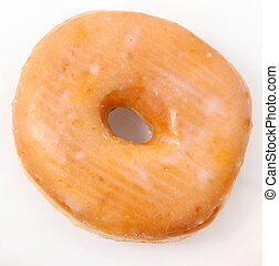 Single Glazed Doughnut - Single glazed donut over white....
