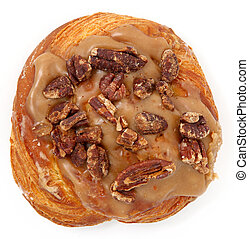 Maple Pecan Doughnut - Single maple pecan donut over white...