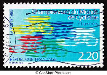 Postage stamp France 1989 shows World Cycling Championships...