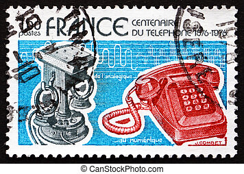 Postage stamp France 1976 Old and New Telephones