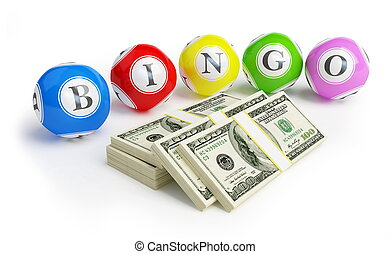 bingo balls dollars on a white background