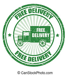 Free Delivery stamp - Grunge rubber stamp with a delivery...