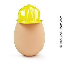 egg construction helmet on a white background