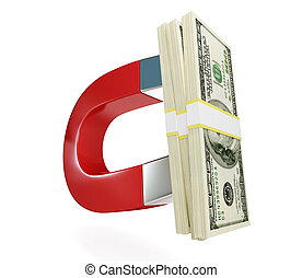 magnet dollar on a white background