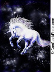 Unikorn - White unicorn flying in the black sky.