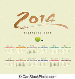 Calendar 2014 text paint brush on paper recycle background,...