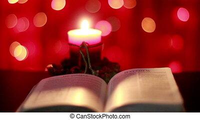 Christmas candle and Bible