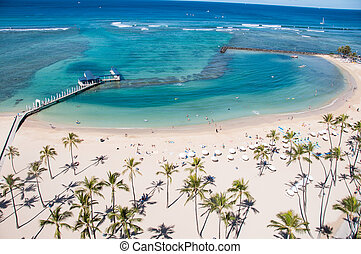 Waikiki Beach - Famous Waikiki Beach on the Hawaiian island...