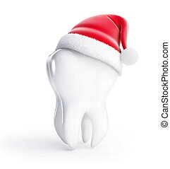tooth santa hat isolated on a white background