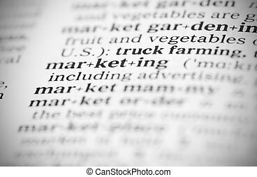 Macro image of dictionary definition of marketing